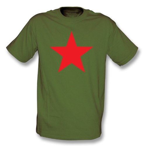 Red Star (as worn by Michael Stipe of R.E.M.) T-shirt X-Large Olive Green (Olive Green Football)