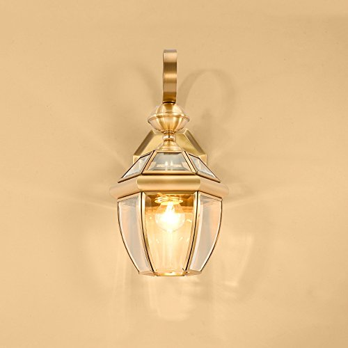 13.78 Inch/35cm high wall lamp Modern minimalist fashion E27 light bulb 1 31-40w copper Glass lampshade Bar Bedroom Living room outdoor (Gold) by Lizichun (Image #5)'