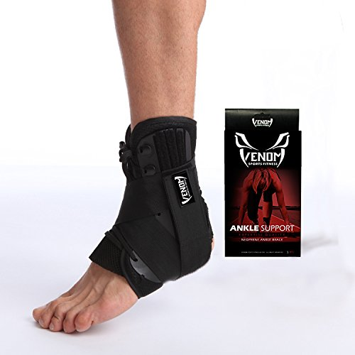 Venom Ankle Brace Neoprene Lace Up Compression Sleeve - Elastic Support & Adjustable Stabilizers for Sprained Foot, Tendonitis, Basketball, Volleyball, Soccer, MMA, Running, Sports, Men, Women (S)