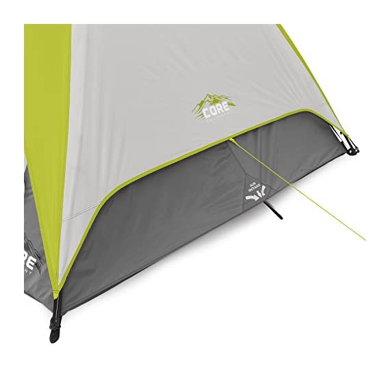 CORE Equipment 4 Person Instant Dome Tent - 9' x 7', Green 8 Instant 30 second setup; sleeps 4 people; fits one queen air mattress; center height: 54 Core H20 block technology and adjustable ground vent Features gear loft with lantern hook and pockets to keep items organized and off the tent floor