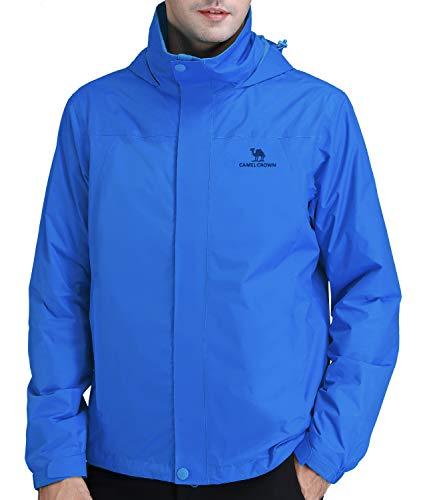 CAMEL CROWN Mens Waterproof Jacket Hooded Windbreaker Windproof Rain Coat Shell for Outdoor Hiking Climbing Traveling Blue L