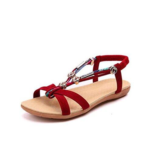 mujer Negro verano Casual planas Rojo PU sandalias Gray gris Zapatos de talón cerrado ZHZNVX de confort Toe de qOwaYEZx8