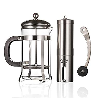 French Press Coffee Maker Heat Resistant Borosilicate Glass & Manual Coffee Grinder Stainless Steel Set
