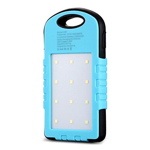 CYSPSZ Solar Charger Rain-resistant Dirt/Shockproof, Solar External Battery Pack, Dual USB Port 10000mAh Portable Solar Power Bank With LED Lights. (blue)