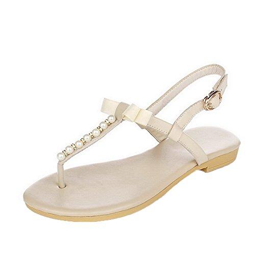 AalarDom Mujer Hebilla Puntera Dividida Mini Tacón Pu Sólido Sandalias de vestir Beige(1cm)