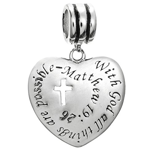 Queenberry Sterling Silver Christian Faith Cross with God All Things are Possible European Style Dangle Bead Charm