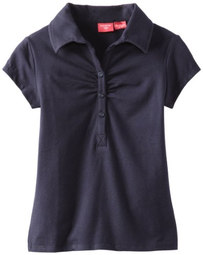 Dockers Big Girls'  Short Sleeve Pique Polo With Shirring, Navy, Large