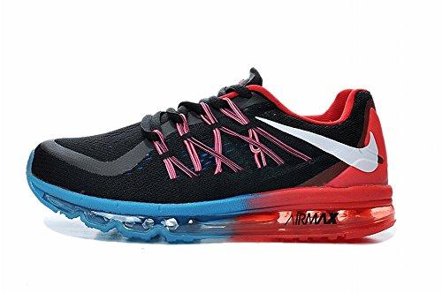 Edad Kid 2016Air Max Flyknit deportes al aire libre Running Zapatos de carretera, Niños, negro /rojo, UK12.5=EUR31=20CM