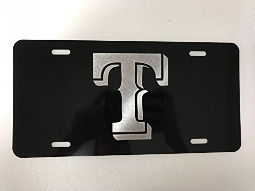 (Diamond Etched Texas Rangers Logo Car Tag on Black Aluminum License Plate)