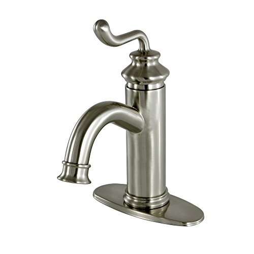 Kingston Brass FS5418RL Royale Single Handle Lavatory Faucet with Push Button Drain, Satin Nickel