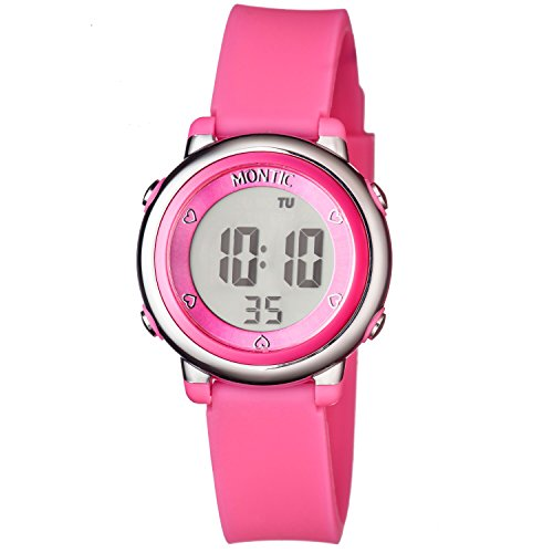 Montic Kids Pink Digital Sports Multi Function Watch Alarm and Stopwatch with Colored LED Display