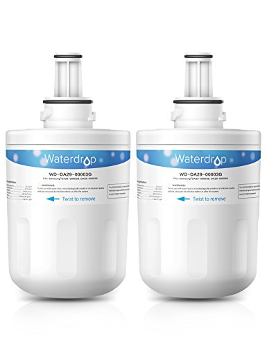 Waterdrop DA29-00003G Replacement for Samsung DA29-00003G, DA29-00003B, DA29-00003A, HAFCU1 Refrigerator Water Filter(Pack of 2)  samsung refrigerator filter | How To: Replace The Water Filter On Your Samsung French Door Refrigerator Using Filter HAF-CIN 41WA3zmNI0L