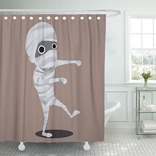 Emvency Shower Curtain White Flat Halloween Cartoon Character Mummy Monster Shower Curtains Sets with Hooks 72 x 78 Inches Waterproof Polyester -