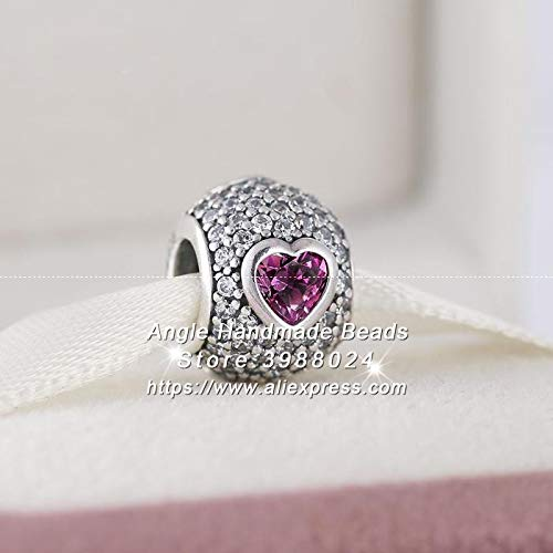 Calvas Valentine's Day S925 Sterling Silver Pave Heart Clear Fancy Pink CZ Charms Beads Fit European DIY Bracelets Necklaces PW234