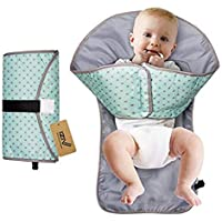 Babymoon 3 in 1 Deluxe Portable Diaper Changing Mat, Diaper Clutch & Diaper-Time Playmat with Redirection Barrier, Hands Soft Flexible Travel Mat Folds Waterproof Mat Bag