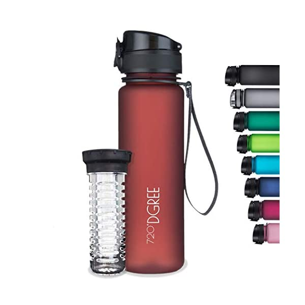 720°DGREE Tritan Fruit Infuser BPA Free Water Bottle 500ml for Gym, Sports, Office, etc. | Imperial Red 2021 August Durable, Impact Resistant Versatile Unisex Sipper Water Bottle The 720 Dgree Sports Drinking Water Bottle Is Crafted Using High-Quality Material - Tritan Copolyester According To The European & American Standards. This Sipper Water Bottle Is Perfect For Kids - Girls & Boys As Well As Adults- Men & Women. The Bottle Can Be Used As A Shaker For Gym Or Fitness Activities And Is Ideal For Office, School, Cycling, Travel, Hiking, Yoga, Running, Camping, Etc Bpa-Free & Leak-Proof Plastic Water Bottle