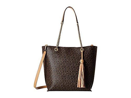 (Calvin Klein Women's Signature Top Zip Chain Tote Brown/Camel One Size)