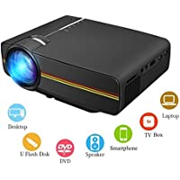 Portable Mini Video Projector ,AMZSTAR 1200 Lumens LED Projector Multimedia Home Cinema,HD 1080P 130 Large Screen with HDMI/VGA/AV/SD/USB For Office Projector Black