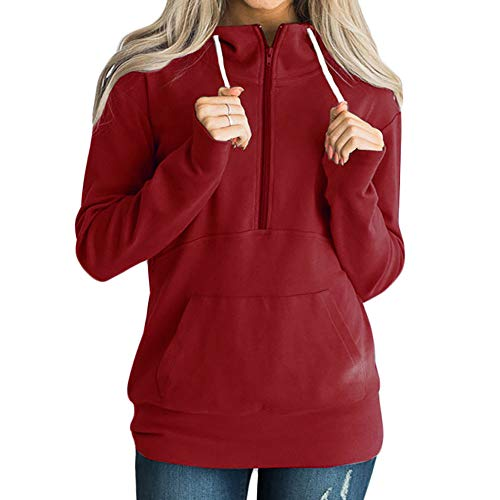 1/4 Zip Sweatshirt, Clearance! Duseedik Fashion Women Casual Solid Zipper Long Sleeve Sweatshirt Jumper Pullover Blouse (Top Performance Colognes)