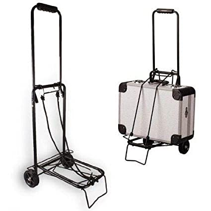 Anleolife Folding Carts With 4 Wheels Grocery Travel Dolly Back Saver Luggage Car Seat Carrier