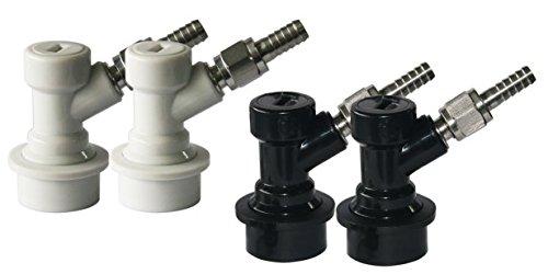 PERA 2 Pair Ball Lock MFL Beer Keg Disconnect Set with Swivel Nuts (2) 5/16 Gas, 1/4 Liquid Barbed