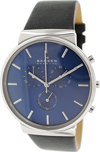 Skagen Men's SKW6105 Ancher Black Leather (Chrono Dial)