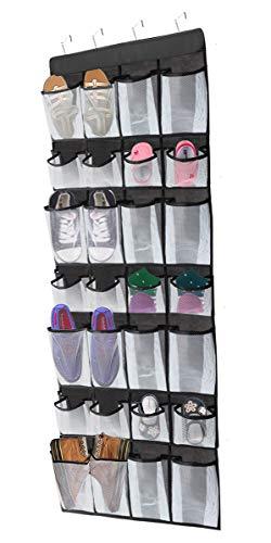 BB Brotrade Over The Door Shoe Organizer,Hanging Closet Organizer,28 Mesh Pockets Non-Woven Shoe Rack with 4 Steel Door Hooks