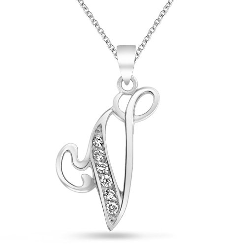 Rhodium Letter - CZ Cursive Alphabet Letter V Pendant Rhodium Plated Necklace 16 Inches
