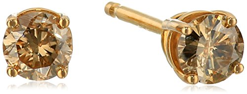 - Champagne Diamond 14k Yellow Gold Stud Earrings (1/3cttw, I2-I3 Clarity)