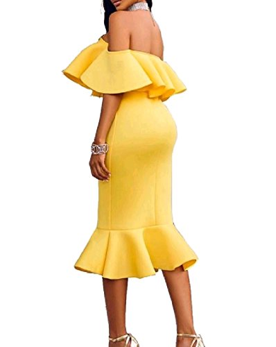 Pencil Dress Cocktail Party Women Off Bodycon Yellow Flouncing Shoulder Coolred xq14Yw8A