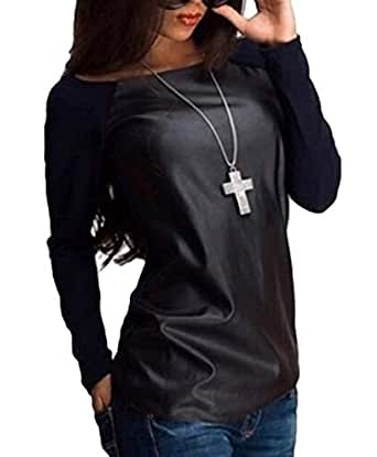 GUOCAI Women Long Sleeve Round Neck Stitching Faux Leather T-Shirt Tee Black XL