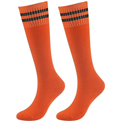 Baseball Soccer Socks, saillsen Kids Moisture Wicking Cushioned Socks Team Sports Football Volleyball Softball Handball Long Tube Bright Color Striped Socks, 2 Pairs - Orange Striped Team Colors