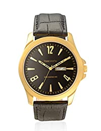 TimeSmith Limited Edition Black Dial Black Genuine Leather Watch for Men with Day and Date TSM-088