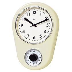 Bai Retro Kitchen Timer Wall Clock, Ivory