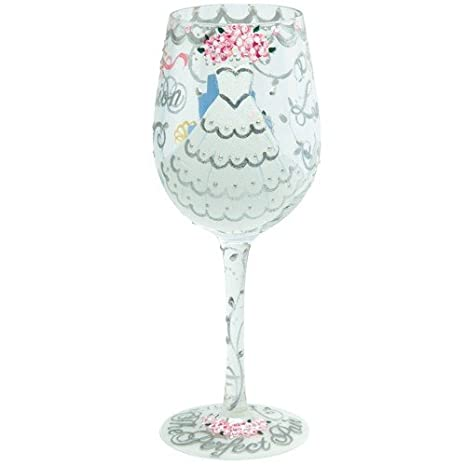 d8d4d03a7ff Image Unavailable. Image not available for. Color  Enesco Designs by Lolita  Bride Artisan Made Hand Painted Wine Glass ...
