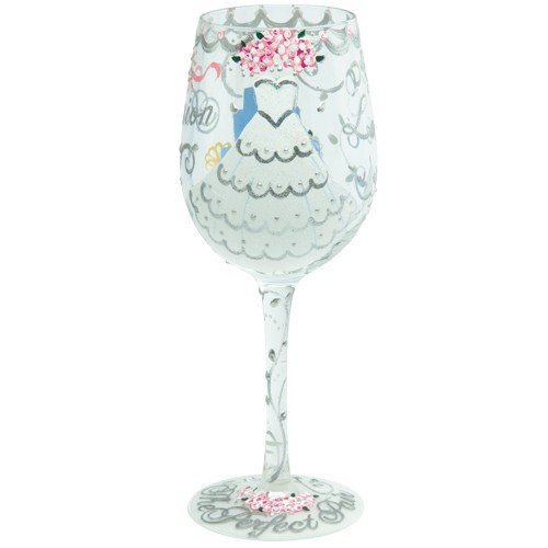 Enesco Designs by Lolita Bride Artisan Made Hand Painted Wine Glass, Wedding Dress, 15 oz (Hand Painted Wine Glasses Mother Of The Bride)