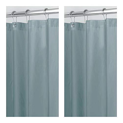 mDesign - 2 Pack - Waterproof, Mold/Mildew Resistant, Heavy Duty PEVA Shower Curtain Liner for Bathroom Showers and Bathtubs - No Odor, Chlorine Free - 3 Gauge, 72 x 72 - Smoke Gray