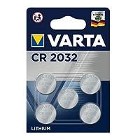 VARTA CR 2032, 6032101415, Batteria Litio a Bottone, Piatta, Specialistica, 3 Volts, Diametro 20mm, Altezza 3,2mm, confezione 5 pile