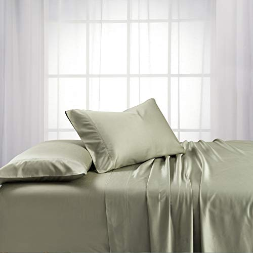 Exquisitely Lavish Body Temperature-Regulated Bedding, 60% Bamboo Viscose/ 40% Plush Cotton, 300 Thread Count, 5 Piece Split King (Adjustable Bed) Size Deep Pocket Silky Soft Sheet Set, Sage