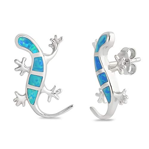 Glitzs Jewels 925 Sterling Silver Created Opal Earrings (Blue) (Lizard) | Cute Jewelry Gift