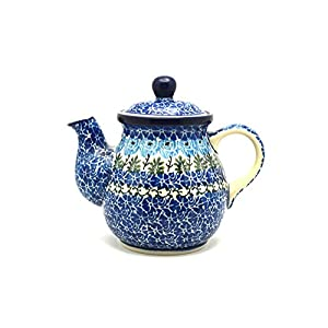 Polish Pottery Gooseneck Teapot – 20 oz. – Antique Rose