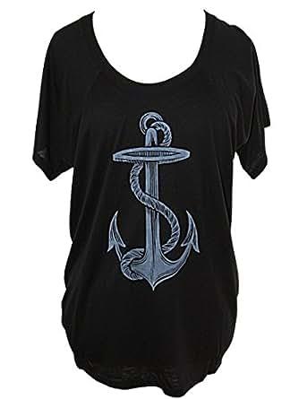 YogaColors Women's Crystal Flowy Raglan Dolman Scoop Neck Tee Top (Black Anchor, Small)