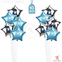 Party Propz 10 Pcs 17 inch Blue and Silver Star Foil Balloons for Birthday/blue and silver party decorations