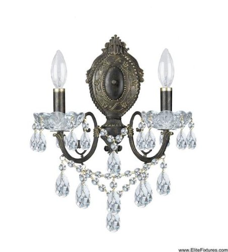 Legacy 2 Light Sconce - Crystorama 5192-EB-CL-SAQ, Legacy Candle Crystal Wall Sconce Lighting, 2 Light, 120 Watts, Bronze