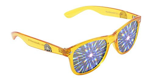 Diffraction Glasses - The Original Prism Rave Sunglasses from Rainbow OPTX (Transparent Yellow, - Sunglasses Optx