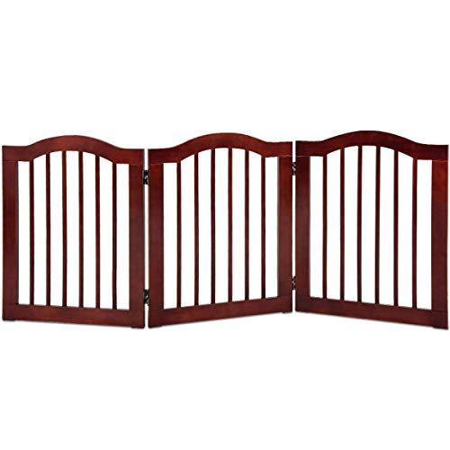 CHOOSEandBUY 3 Panels Folding Freestanding Wood Pet Dog Safety Gate Perfect Beautiful Classic Elegant Useful