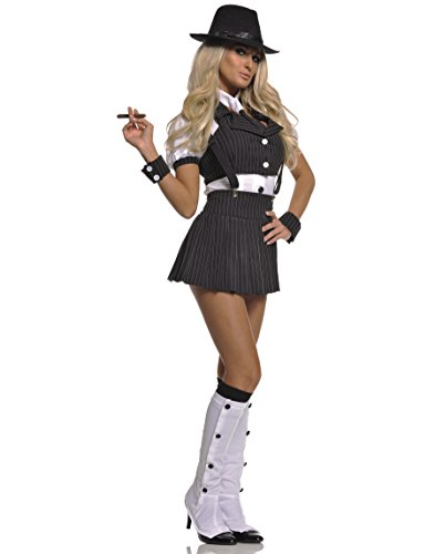 Mafia Girl Costumes (Underwraps Costumes  Women's Sexy Gangster Costume - Miss Mob, Black/White, Large)