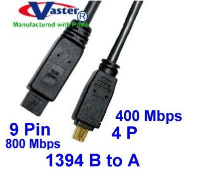 IEEE-1394 FireWire iLink DV Cable, IEEE 1394b 800 Mbps Firewire DV iLink Cable (9 Pin to 4 Pin) 13 Ft VasterCable 20072
