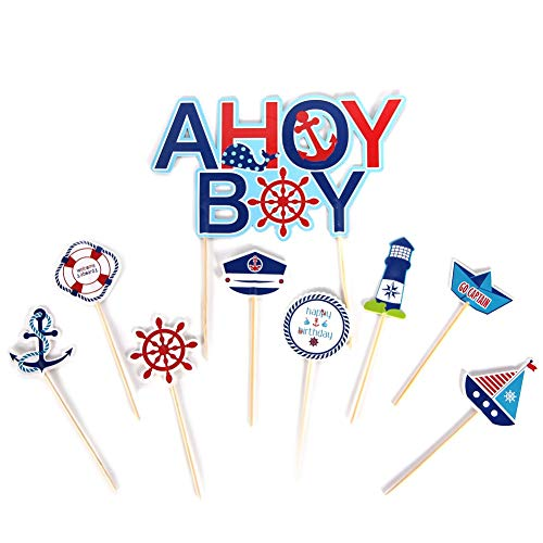 Set of 9 Ahoy Boy Nautical Theme First Birthday Party Baby Boy Cake Toppers Kit Baby Shower Cake Decor Cupcake Topper Kit ()