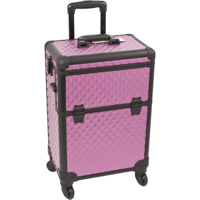 Interchangeable Professional Rolling Cosmetic Makeup Train Case Pattern: Diamond, Color: Purple/Black